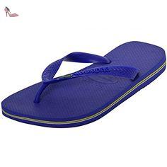 Havaianas pour homme Brésil Brasil Logo Flip Flop sandales chaussures de plage piscine - - Marine Blue- Brazil, - Chaussures havaianas (*Partner-Link)