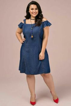 Vestido Jeans Plus Size Mabe Casual Dresses, Fashion Dresses, Vestidos Plus Size, Frock Dress, Dresses Kids Girl, Plus Size Fashion For Women, Plus Size Jeans, Classy Dress, African Dress