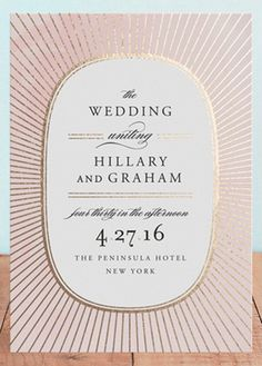 Plaza pink and gold foil classic wedding invitations.