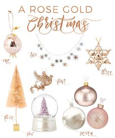 via oraneboucher.com, rose gold christmas, holiday decor, holidays, copper christmas decor, copper ornament, rose gold ornament, pink ornament, blush, peach, christmas, home decor, interior, inspiration, target, wayfair, chapters