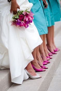 Tiffany blue bridesmaid dresses with pink shoes and flowers! I'm not a big fan of pink, but this makes me want to have different colored shoes at the wedding!