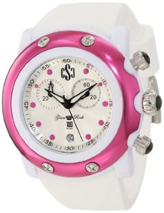 Glam Rock Women's GD1104 Miami Beach Chronograph White Mother-Of-Pearl Dial White Silicone Watch Glam Rock. $139.00. Chronograph functions with 60 second, 30 minute subdials; date function. White mop dial with black hands and fuchsia hour markers; luminous; stainless steel crown and pushers with black cabochon. Mineral crystal sapphire coated; white resin case; brushed fuchsia ion-plated stainless steel case cover with 4 stainless steel screws; white silicone strap. ...