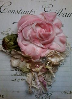 victorian,shabby chic, brooch,corsage,hair accessory,velvet,flowers,silk,wedding,vintage,romantic,hand made,