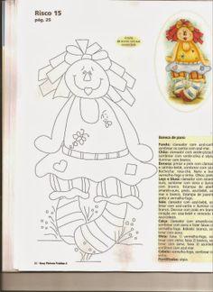 Passo a passo para pintar boneca de pano em fralda.
