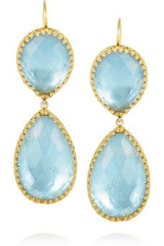 Larkspur & Hawk ~ Celeste 22~Karat gold~dopped Topaz drop earrings