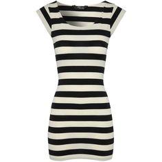 Jane Norman Monochrome Stripe Tunic Top ($9.10) ❤ liked on Polyvore featuring tops, tunics, dresses, shirts, tunic, black, striped top, black cap sleeve shirt, black shirt y cap sleeve shirt