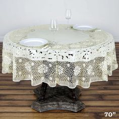 70 Eco Friendly Ivory 0 6mil Thick Disposable Waterproof Lace Vinyl Round Tablecloth Protector Cover