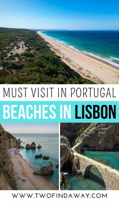 Insightful guide to the best Lisbon beaches written by locals. It includes information on several stunning beaches and how to reach them! Visiting these beaches is one of the best things to do in Lisbon, Portugal. I Lisbon Beaches I Things to Do in Lisbon I Lisbon Travel Tips I Visit Portugal I Lisbon Itinerary I #lisbon #portugal #europetravel #traveltips #twofindaway Beach List, Beach Trip, Visit Portugal, Spain And Portugal, Beautiful Places To Visit, Beautiful Beaches, Lisbon Beaches, Portugal Travel Guide, European Travel Tips