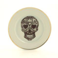 Altered Vintage Plate Sugar Skull 7.48 Porcelain Day of