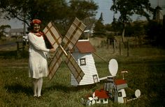 A lady and her wind mill collection 1927.