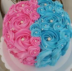 Gender reveal rosette cake