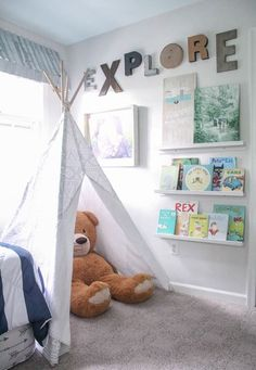 Boys Shared Bedroom Reveal: One Room Challenge play teepee and picture book ledges and gallery wall boys bedroom idea The post Boys Shared Bedroom Reveal: One Room Challenge appeared first on Toddlers Diy. Boy And Girl Shared Bedroom, Shared Boys Rooms, Boy Toddler Bedroom, Shared Bedrooms, Boy Room, Childrens Bedroom, Baby Boy Bedroom Ideas, Kid Bedrooms, Kids Room