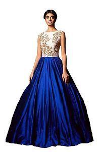 Diwali-Offer-Womens-Bhagalpuri-Embroidery-Work-Semi-Stitched-Blue-white-Gown
