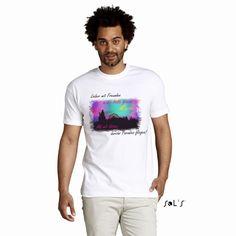 """Sehr schönes Men T-Shirt in weiß mit einem verspielten Hintergrund in dem Motto """"Himmel Hölle"""" Das T-Shirt besteht aus 100% halbgekämmte Baumwolle mit einem Ringspun Nackenband und einem Elasthan Rippkragen. Natürlich auch mit dem bekannten Nackenlogo im Rücken. Bitte beachten Sie die Pflegehinweise auf www.ajz-shirts.de"""