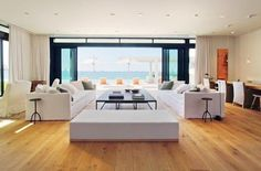 A spectacular view of the water from one of the home's living rooms