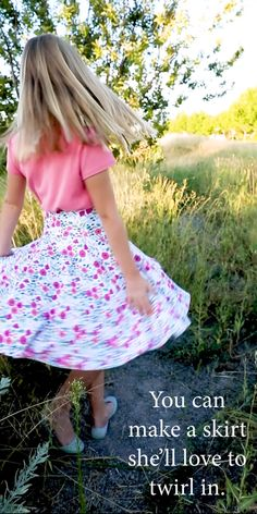 This easy circle skirt is fast and simple to make Cut out the FREE sewing pattern comes in girl s sizes 2 - 12 sew FOUR seams and it s finished Perfect little staple for her wardrobe Also a great introduction to sewing with knits Perfect for beginners Sewing Patterns Girls, Girls Skirt Patterns, Skirt Patterns Sewing, Pattern Sewing, Coat Patterns, Pattern Drafting, Blouse Patterns, Little Girl Dress Patterns, Toddler Dress Patterns