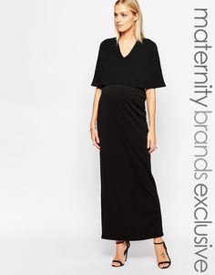 Club L Maternity Plunge Front Maxi Dress With Kimono Sleeves
