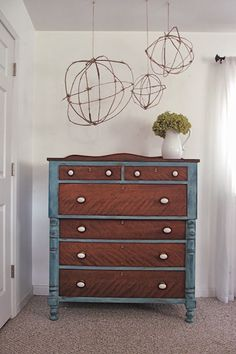 Shades of Blue Interiors: The Dresser I Kept & Hanging Branch Orbs