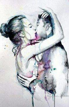 Bellisima acuarela! Los colores destilan sensualidad y pasion y contrastan perfectamente con el blanco y negro!