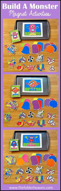 These Build a Monster Center Activities can be set up as cookie sheet activities, a magnet center or completed as cut and glue activities. This activity includes: 1 background, 12 build a monster example cards, and a HUGE set of Cookie Sheet Activities, Monster Activities, Early Learning Activities, Preschool Activities, Vip Kid, File Folder Games, File Folders, Tot School, Monster Party