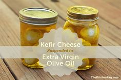 Kefir Cheese Suspended in Extra Virgin Olive Oil - just started making kefir, and it separates into curds & whey a lot, so I use the whey to jump start my veggie ferments, this seems like a good option for using the curds