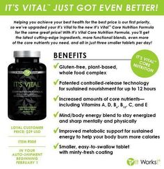 It Works It's Vital Core Nutrition is a plant-based whole food multivitamin that…