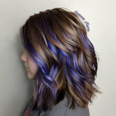 hair Highlights colored - 25 Cutest Peekaboo Highlights You'll See in 2020 Purple Brown Hair, Hair Color Purple, Brown Hair With Highlights, Hair Color Highlights, Cool Hair Color, Purple Hair Streaks, Purple Hair Styles, Colored Streaks In Hair, Curly Purple Hair