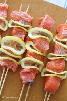 Grilled Salmon Kebabs ... Skinnytaste.  Would be easier to cook in foil instead of on kebabs