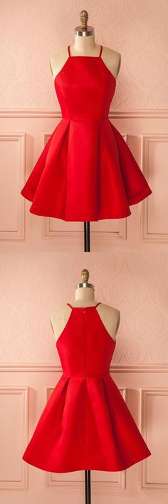 Red Homecoming Dresses,Satin Prom Dresses,Satin Cocktail Dress,Simple Party Dress,Summer Dresses