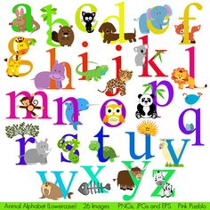 Animal Alphabet, Font with Safari Jungle Zoo Animals, Lowercase - Commercial and Personal Use