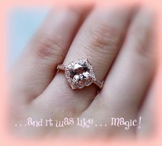 Vintage Engagement Ring Cushion Cut Morganite in by ItWasLikeMagic, $1140.00