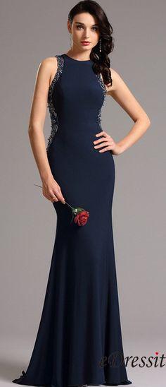 eDressit Sleeveless Beaded Navy Blue Formal Gown