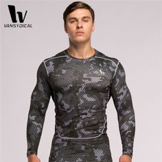 VANSYDICAL Men's Compression T-Shirts Long Sleeve Base Layer Tights Fitness Workout Cycling Running Shirts Camouflage Tops