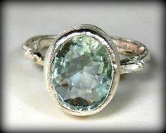 Aquamarine Twig Gemstone Ring, Silver twig Statement Ring, Engagement ring. $155.00, via Etsy.