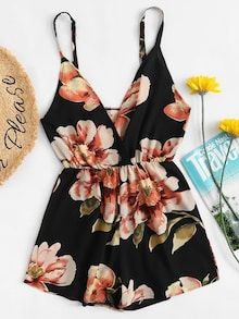 Shop V Neckline Floral Wrap Cami Romper online. SHEIN offers V Neckline Floral Wrap Cami Romper & more to fit your fashionable needs. Short Jumpsuit, Jumpsuit With Sleeves, White Jumpsuit, Cute Summer Outfits, Cute Casual Outfits, Summer Ootd, Teen Fashion Outfits, Outfits For Teens, Fashion Black