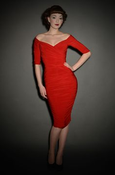 Monica - the ultimate 50's red wiggle dress - back in stock at Deadly is the Female