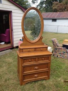 $140 Wood Chest of Drawers/Mirror    Would offer 80