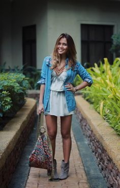 Cute-as-a-button, boho chic get up via The Walking Recessionista. Great chambray and booties!