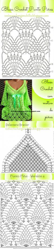 Patrones ganchillo de Bella Blusa en Punto Piña | Todo crochet                                                                                                                                                     Más