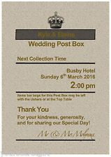 Personalised Royal Mail Post Box Wedding Card RUSTIC GOLD THEME Photo 7x5 Sign