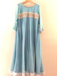 Baby blue pleated pishwas long dress blue shalwar by IrmaDesign