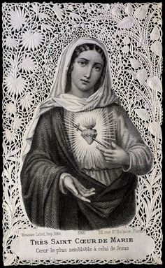 Immaculate Heart of Mary I Love My Mother, Blessed Mother Mary, Scripture Cards, Prayer Cards, Catholic Art, Roman Catholic, Jesus E Maria, Vintage Holy Cards, Pictures Of Jesus Christ