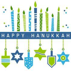 A Happy Hanukkah greeting card with a stylized and retro Hanukkah Menorah (or Hanukiah) and hanging decorations (star of David and dreidel). Eps file available. Happy Hanukkah Images, Hanukkah Pictures, Happy Hannukah, Hanukkah Greeting, Feliz Hanukkah, Hanukkah Cards, Hanukkah Menorah, Jewish Hanukkah, Merry Christmas