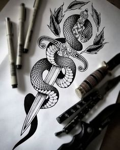 You all know, I love drawing snakes and daggers. Spine Tattoo For Men, Spine Tattoos, Dope Tattoos, Full Sleeve Tattoos, Leg Tattoos, Snake And Dagger Tattoo, Snake Tattoo, Tribal Tattoos For Men, Tattoos For Guys