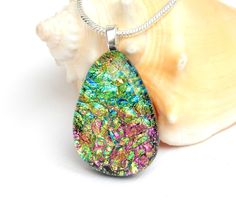 Super Sparkly Dichroic Glass Pendant - Fused Glass Jewelry - Green Gold and Pink Art Glass Droplet Necklace by TremoughGlass on Etsy