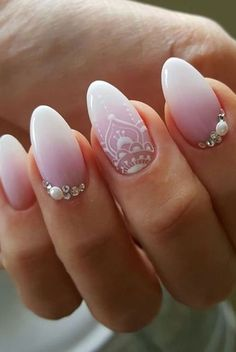 Bridal almond nails that are TD. #nail #designs #art #almondnails