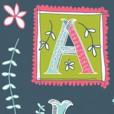 Jane Farnham - Love Letters - Alphabet Panel in Midnight