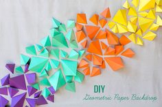 From Geometric Wall Decals to DIY Hanging Origami Decor Diy Photo Backdrop, Paper Backdrop, Diy Wedding Backdrop, Ceremony Backdrop, Wedding Ceremony, Backdrop Ideas, Backdrop Photobooth, Backdrop Design, Photo Backdrops