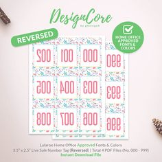 Lularoe Facebook Live Sale Reversed Mirrored Number Tag, 000 - 999, Home Office Approved, Simple Floral, Instant Download, Flower, DCLST006