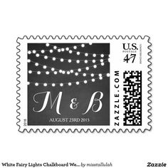 White Fairy Lights Chalkboard Wedding Stamp